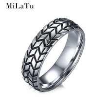 MiLaTu Punk Men Tyre Groove Ring Stainless Steel Wedding Bands For Men F1 Racing Jewelry US Size 7 To 12 Hot Sale R574G(China)