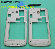 HAOYUAN.P.W Original Middle plate frame bezel housing+side button+camera glass lens+Tool For Samsung Galaxy Grand 2 G7102 G7106