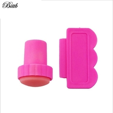 2Pcs/Lot Pink Nail Art Tool Painting Printing Equipments Professional Mini Manicure Beauty Stamping Nail Fingernail
