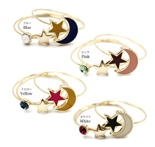 4PCS/set Japanese Oil Painting Spring Color Star Moon Imitation Gem Combination Midi Ring Set Knuckle Rings anel (13mm) R35(China)