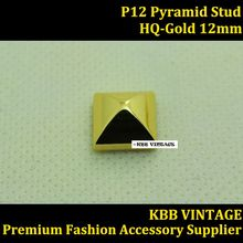 10pc Pyramid Stud Screwback Punk Spike12mm in Gold for Leather Craft/Bag/Shoe/Clothing/Cap/Jacket