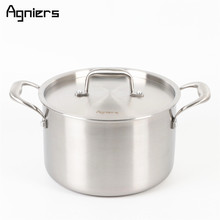 Agniers 22cm New Stainless Steel Stock Pot With Steel Cover Multi-Ply Clad Soup Pot With Stainless Steel Lid(China)