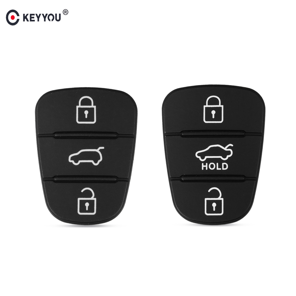 KEYYOU Replacement 3 Button Rubber Pad Key Shell For Hyundai IX35 I30 Accent Kia K2 K5 Rio Flip Remote Car Key Fob Case Cover(China)