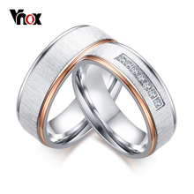 Buy Vnox Matt Surface Wedding Rings Women Men CZ Stones Silver & Rose Gold-color Stainless Steel Couple Ring Wedding Jewelry for $5.44 in AliExpress store