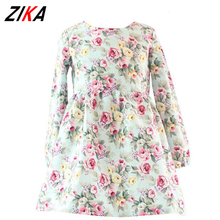ZIKA 2-12Y Autumn/Spring Baby Girls Dresses Floral Print Long Sleeve Kids Dresses For Girls New Vintage Toddler Girl Clothing