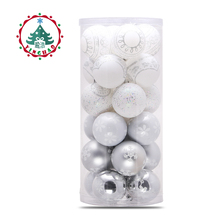 inhoo 24pcs Christmas Tree Hanging Balls 6/8cm Silvery White Snowflake Color Drawing Decor Ball Xmas Home Party Wedding Ornament(China)