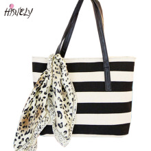 HISUELY 2017 Fashion Canvas Navy Style Stripe Handbag Handle Small Silk Scarf Women Casual Tote Designer Lady Large Bag BAGM6246(China)