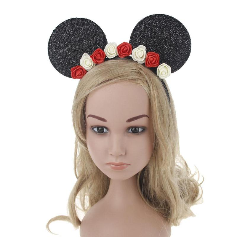 Cute Mickey Mouse Ear Headband Lovely Flower Hair Hoop Ears Hairband For Headwear Children Women Hair Accessories Gift C3(China (Mainland))