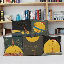Cartoon warmth moon yellow gold Pillow case Cushion Cover Sofa Car chair Home club coffee shop Decorative for chirdren's gift(China)