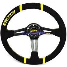 Free Shipping 14 inch Deep Dish MOMO Steering Wheel for Racing Car MOMO Racing Drifting Car Wheels