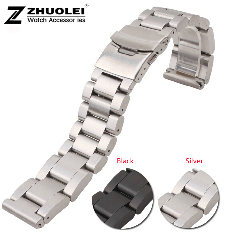Watch band 22mm 24mm 26mm New Men Heavy Silver Black Brushed Stainless Steel Watch Band Watch Straps Bracelets Double Lock Clasp<br>