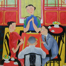 Oil Painting 100% Hand Painted Chinese painters Hu YongKai Mahjong TimePainting Canvas Modern Wall art Home decor 90x90cm #3