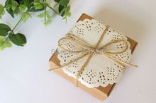 25pcs/lot Brown Square Kraft Paper Boxes With Paper Lace Doilies and String Party Favors 7.5*7.5*3.5cm KF09-25(China)