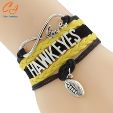 Infinity Love Hawkeyes football college Team Bracelet black yellow Customized Wristband friendship Bracelets(China)