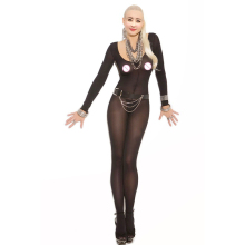 Buy Nightwear women Foxy Babe Opaque Long Sleeve Open Crotch Bodystocking Sexy Women Crotchless Body Stocking Lingerie Bodysuit
