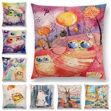 Hot Sale Funny Watercolor Big Small Eyes Animals Friends Cat Fish Bear Bee Dog Fox Owl Rabbit Balloons Cushion Cover Pillow Case