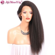 AliBlissWig 360 Lace Frontal Wig Kinky Straight Human Hair Wigs With Baby Hair Italian Yaki Right Side Brazilian Remy 150%(China)