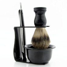 ZY Men Shaving Set Straight Razor Shave Beard Shaver +Black Badger Hiar Brush+Black Stand+Plastic Soap Bowl For Barber(China)
