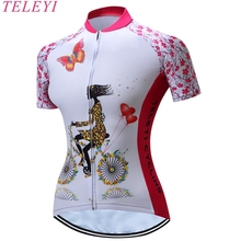 TELEYI Cycling Jersey Women Outdoor Fitness Trainning Gym Sportswear Mountain Bike Bicycle Clothing Anti-sweat Quick Dry