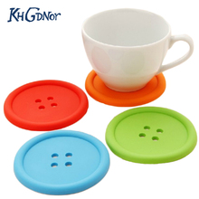 5pcs Silicone Cup Mat Cute Colorful Button Cup Coaster Drink Mug Cushion Holder Coffee Cup Pad Heat Insulation Silicone M