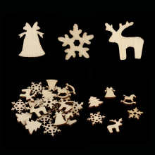 50 Pcs Christmas Carve Natural Wood Chip Ornaments Xmas Tree Hanging Pendant Ornament New(China)