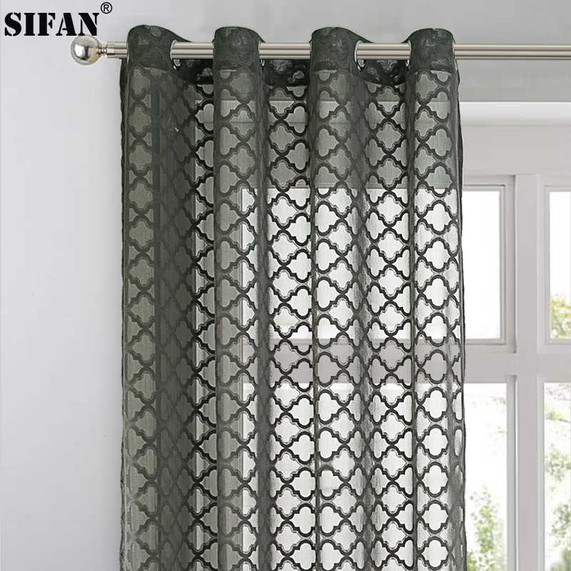 Geometric Jacquard tulle window curtains for living room the bedroom modern tulle curtains for window thick fabric blinds drapes