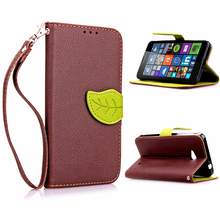 Luxury Litchi Leaves Wallet Leather Flip TPU Case For Microsoft Nokia Lumia 640 N640 lte Phone Bags Cases Hit Color design cover(China)