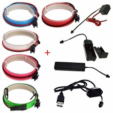 New 1M LED Flexible Neon Glow EL Tape Strip Strobing Electroluminescent Ribbon Cable waterproof led strip lights(China)