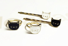 Timlee H072 Cute Cartoon White and Black Cat Metal Barrettes Hair Pins Clip Hair accessory wholesale