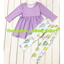 latest children frocks designs boutique kids ruffle raglan dress sets palka dot outfits Thanksgiving clothing - Yiwu Qiaolei Clothing Factory store
