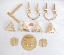 Brass Hardware Set Hinges Latch Handle Corners Antique Trunk Case Jewelry Box