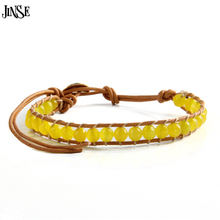 JINSE New Style Natural Stone Gems Beaded 100% Hand Made Genuine Leather Cord 1X WP Bracelet Promotion Gift