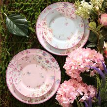 8/10inch Pastoral Style Pink Sky Blue Ceramic Bone china Afternoon Tea Pastry Fruit Plate Steak Dish Tray Cake Deep Saucer Gifts(China)