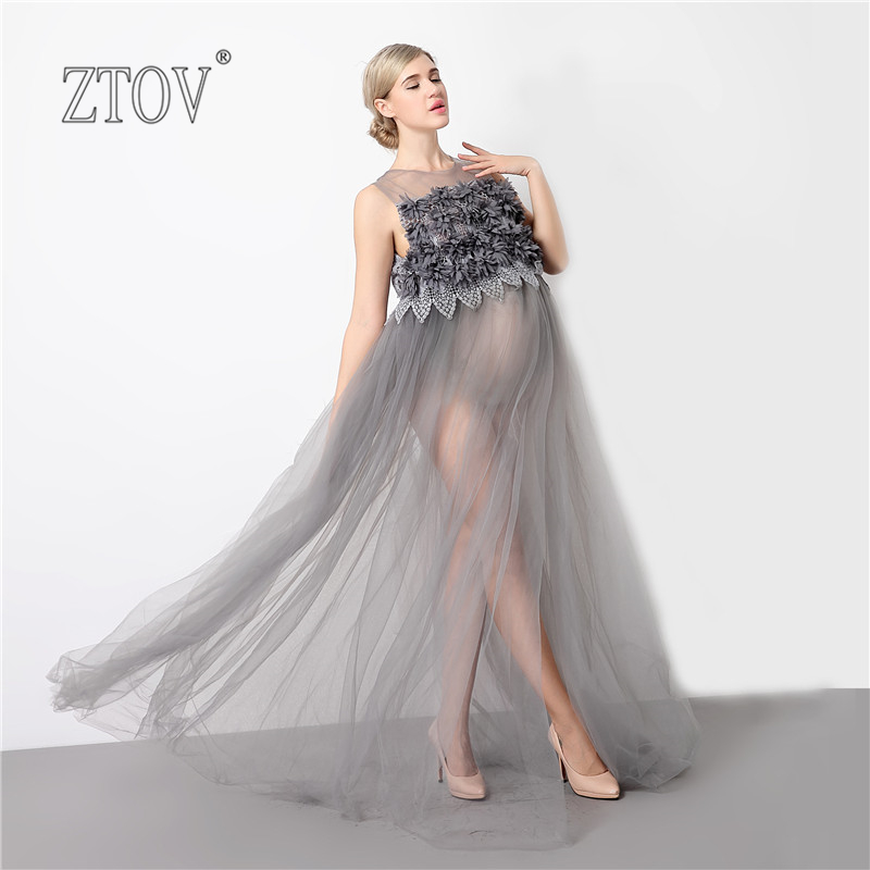 ZTOV Pregnancy Dress For Maternity Photo Props Voile Fashion Photography Clothes Lace Sleeveless Maternity Dress Maternity Gown<br>