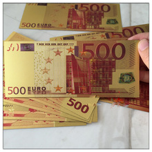 fashion foil fake money Colorful 500 Euro bills 24k Gold Banknote Paper Money Collection Crafts Make Money Selling Decoration