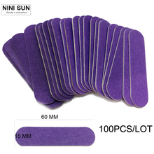100pcs/lot Lowest Price Double Side Professional Slim Sandpaper Nail File Buffer Buffing For Salon Manicure UV Gel Polish Tool(China)