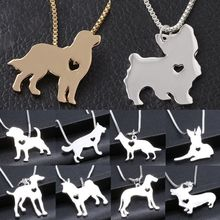 Cute Pet Dog Family Stroll Design pendant necklace Fashion Women Charming Alloy Chain Necklace Free shipping(China)