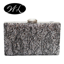 The new 2016 Europe and the United States sequins hard box package Evening bag Hand bag Dress package Cheongsam bag Head bag
