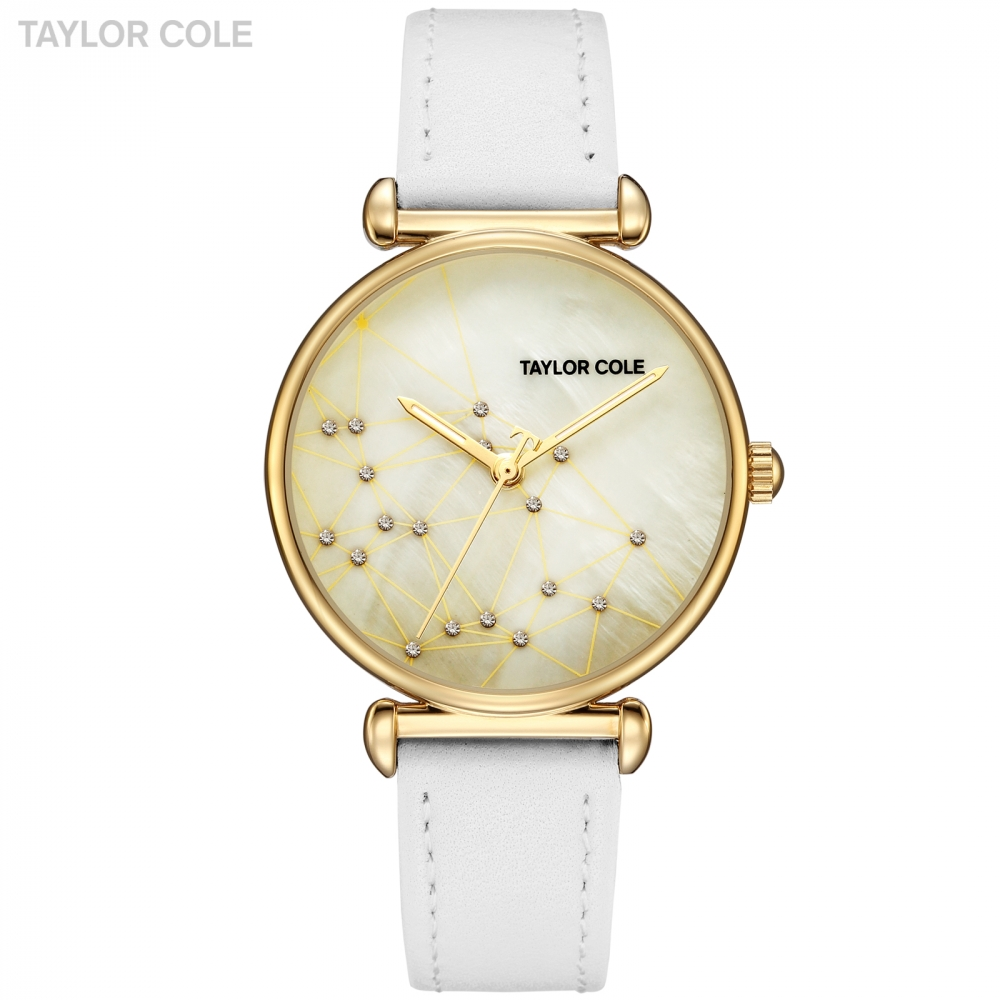 Taylor Cole Cool Style Women Watch Golden Clock Luxury Ladies Watches White Genuine Leather Band Wrist Watches for Women / TC142<br>