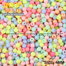 JHNBY Cream beads High quality Acrylic beads 1000pcs 4MM Round Candy Neon smooth Loose beads ball Jewelry bracelet making DIY()