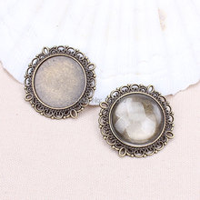 10pcs/lot antibronze filigree (20mm for glass)round cameo cabochon base setting pendant tray Jewelry Blanks