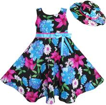 Sunny Fashion 2 Pecs Girls Dress Hat Blue Flower Summer Beach Party Dancing Kids Cotton 2016 Summer Princess Wedding Size 4-12