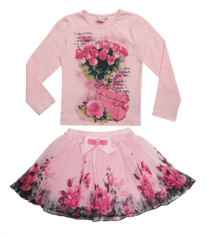 New Fashion 2016 Boutique Outfits Sets For Cute Kids Girl Print Floral Long Sleeve Shirts Tops+Tutu Skirts Sets With Bow Clothes<br><br>Aliexpress