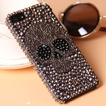Cool Metal Skull Skeleton Grey Eye Bling Cases for Samsung Galaxy S8 PLUS S7 S6 Edge Note 8 5 iPhone X 8 7 6 6S Plus 5S 5 4S 4(China)