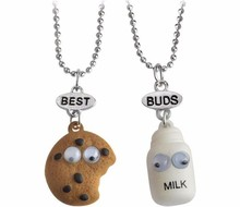 2pcs/set Best Friends BFF fastfood milk cookie biscuit pendant bead chain necklace For kids lead nickel jewelry christmas Gift