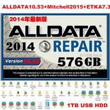 1TB FULL Alldata Auto Repair software+mitchell ondemand+ElsaWin+vivid workshop+ETKA7.3+ImmoKiller+tecdoc+ESI dhl free shipping