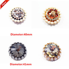 1 pcs,40-41mm mix  fashion metal acrylic Fur buttons, Mink coat buttons. Rhinestone buttons. big with a diamond buckle.accessory
