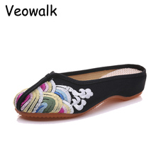 Summer Black Cotton Slippers Old Peking Flat Sandals Chinese Flower Embroidered Elegant Ladies House Cloth Shoes Sandalias(China)