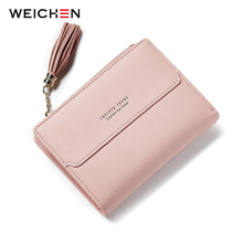 WEICHEN Tassel Zipper Small Wallet Women Coin Pocket Casual Female Purse Card Holder Lady Ladies Leather Wallets Bolsa Feminina(China)