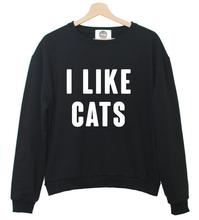 2015 New Women Sweatshirt Jumper I LIKE CATS Letters Print Casual Hoody For Lady Hipster Band Street Black White TZ205-4